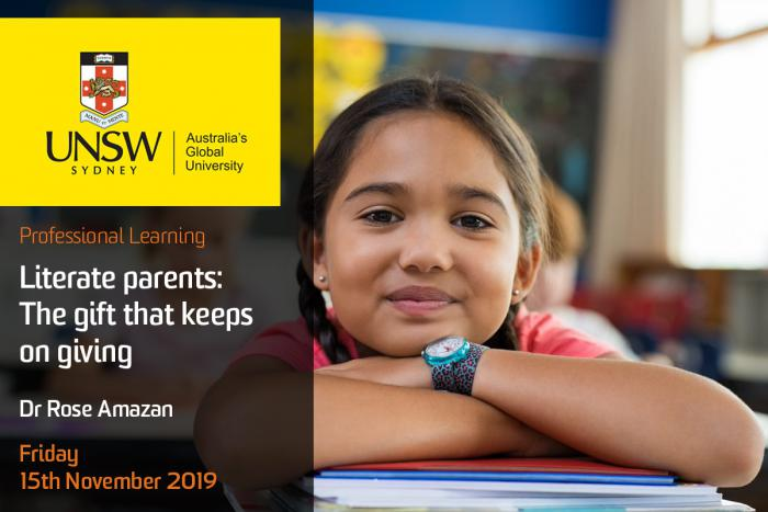 Young girl with black hair smiles at camera, head on her crossed arms and they on some books on a desk. In the background are school room items. At left is a UNSW logo and the words: Australia's Global University, Professional Learning. Literate parents