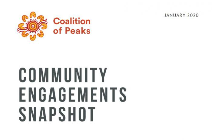 """Dark grey text of the words """"Community Engagement Snapshot"""" on a white background with a red and yellow logo with the words Coalition of Peaks logo written in the top left hand corner. In the top right hand corner is written January 2020."""