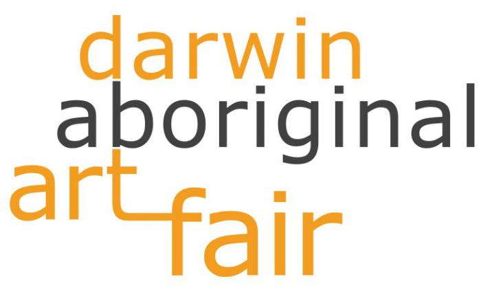 Orange and black writing on a white background. It says darwin aboriginal art fair.