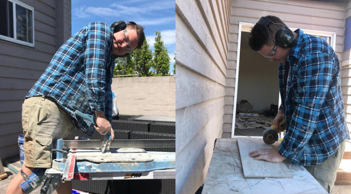 Left image shows young Aboriginal man wearing brown shorts, lumberjack shirt and boots operating a tile cutter on a bench with a building in the background. Right image shows same man working at a bench cutting a tile with an angle grinder