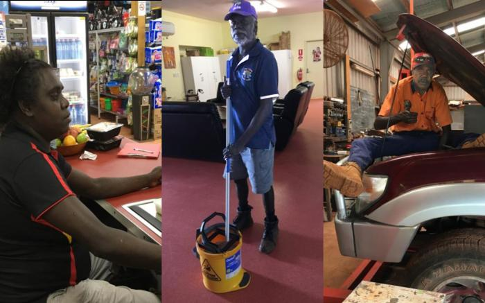 Three images in a row, from left to right. Elizabeth – an Aboriginal woman sitting behind a cash register in a store. Kevin – Aboriginal man in a room with a mop and bucket. Joel – Aboriginal man working on a car.