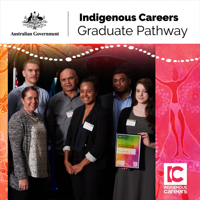 Group of three men and three women flanked by an orange and pink design. Above is the Austalian Government logo and the words, Indigenous Careers Graduate Pathway. At bottom is the Indigenous Careers logo.