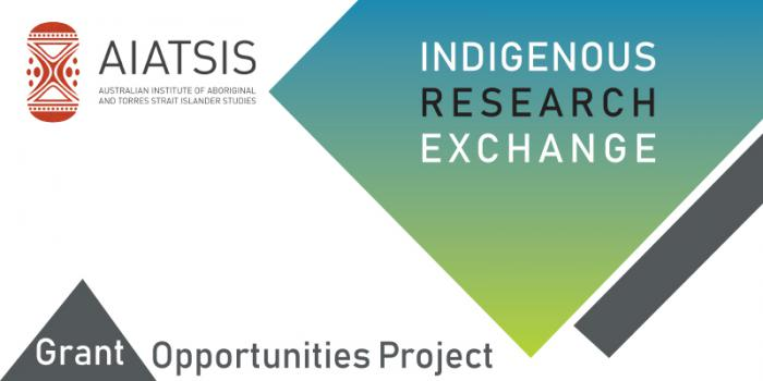 """Logo of the Australian Institute of Aboriginal and Torres Strait Islander Studies. There is a green diamond with the words """"Indigenous Research Exchange"""" and the words """"Grant Opportunities Project written at the bottom of the image."""