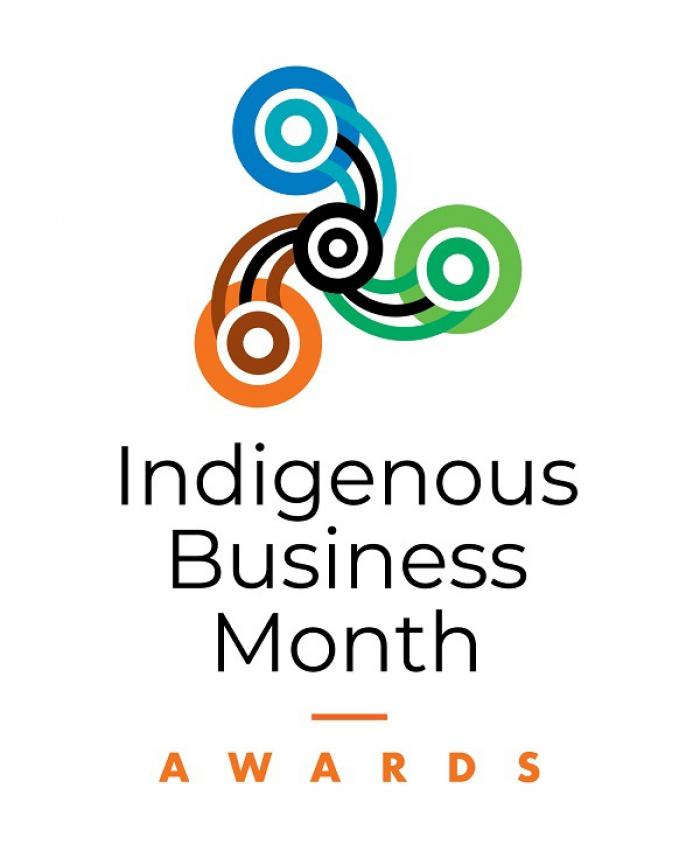 Three circles revolve around a central circle and each connected by three lines to the central circle. Below are the words Indigenous Business Month Awards.