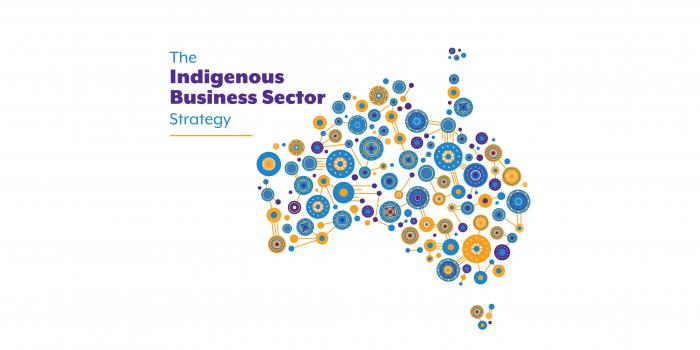 Image of Australia made of Indigenous style graphic elements. At top left is: The Indigenous Business Sector Strategy
