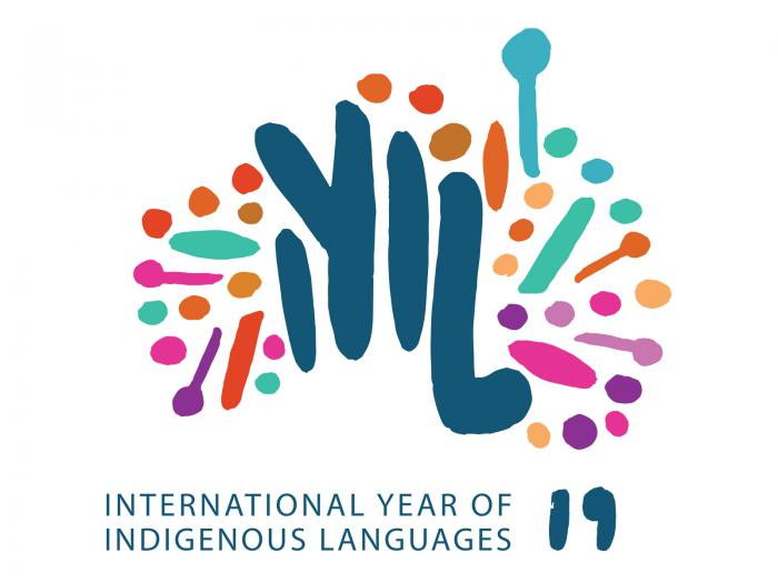 map of australia with words below it: International Year of Indigenous Languages