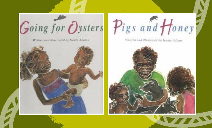 Two book covers side by side. At left: Going for Oysters shows an Indigenous woman holding a young Indigenous baby on her hip. At right: Pigs and Honey featuring three Indigenous individuals and a dog.