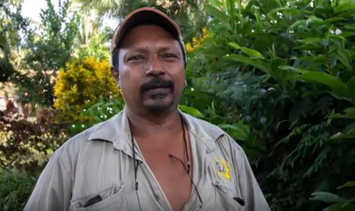 An Indigenous man in khaki shirt and wearing a cap stands in front of green and yellow and brown foliage.