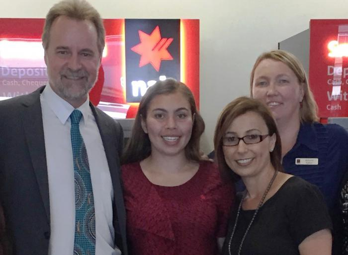Minister for Indigenous Affairs, Nigel Scullion, with trainee Lakota Coleman, Lakota's manager Hanan Etri, and Regional Operations Manager Allison Baker at NAB Parramatta.