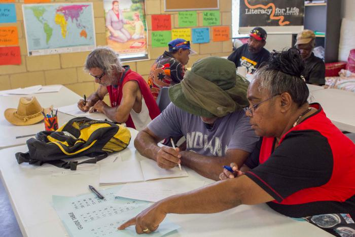 A group of Indigenous adults work at benches with pen and paper in a room featuring a brick wall covered with various posters and a map.