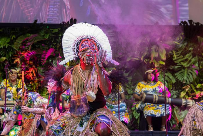 Dancer dressed in traditional Torres Strait Islander ceremonial clothing in the foreground with musicians in similar wear in background.