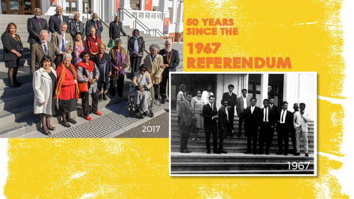 Elderly Indigenous and non-Indigenous people standing on steps with the number 2017 below them. To the right are the words '50 years since the 1967 referendum'. Below is an inset picture of a group of people Indigenous people on same steps. 1967