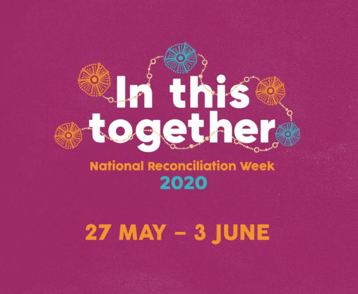 The words In This Together National Reconcilitation Week 2020 27 May dash 3 June appear on a purple background with orange and blue circles linked with a brown chain.