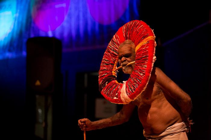 An elderly Aboriginal man performs a traditional dance at the Remote Indigenous Media Festival.