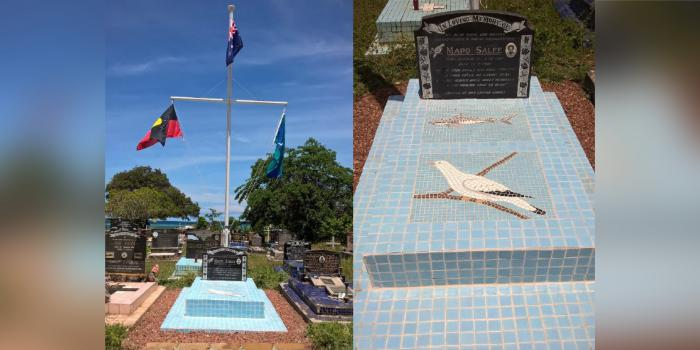 2 images side by side of a gravesite featuring blue tiles over the grave and a black headstone. Behind is a flag pole featuring the Aboriginal, Australian and Torres Strait Islands flag.