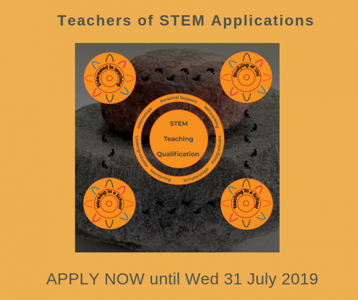 A small disc shaped stone sits on another larger stone with graphic images at centre and in corners of the image. The following words are at top and bottom of the image: Application for the Teachers of STEM initiative. Apply now until Wed 31 July 2019.