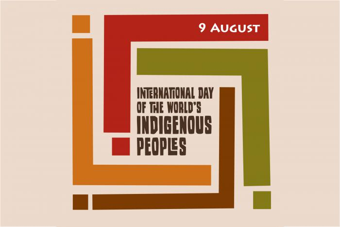 Orange, red, green and brown figures representing the letter i in L shape bend around the words: International Day of the World's Indigenous Peoples. On the orange is 9 August.