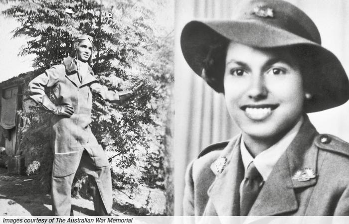There are two portraits. On the left is a black and white photograph of an Aboriginal man in full length pilot suit standing in front of a tree and building. On the right is a smiling Aboriginal woman in military uniform and hat. Behind her are curtains.