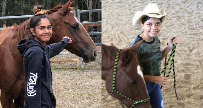 At left: Aboriginal girl in dark top and pants strokes the face of a brown horse as both stand in a paddock with bars in the background. At right: Aboriginal girl in white hat holds the  reins of a brown horse with both standing in a sand covered space.