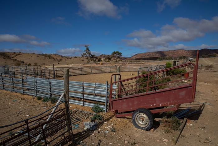 Fences form a yard on dusty soil. In the foreground is a red trailer and in the background are hills and a few trees.
