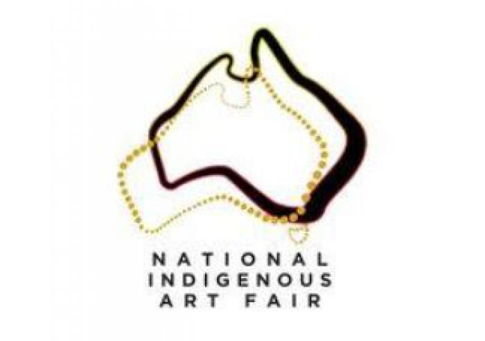 outline of australian continent and below are the words: National Indigenous Art Fair
