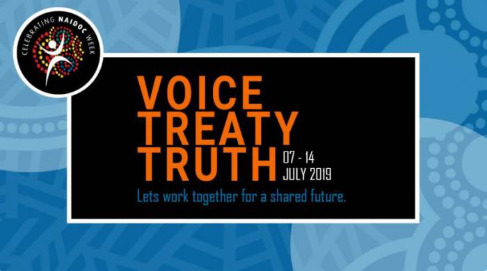 Black box on blue background featuring following words: Voice Treaty Truth 07-14 July Let's work together for a shared future