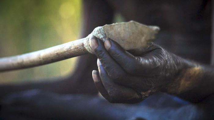 A spear with a flint head is held by an old Aboriginal hand.