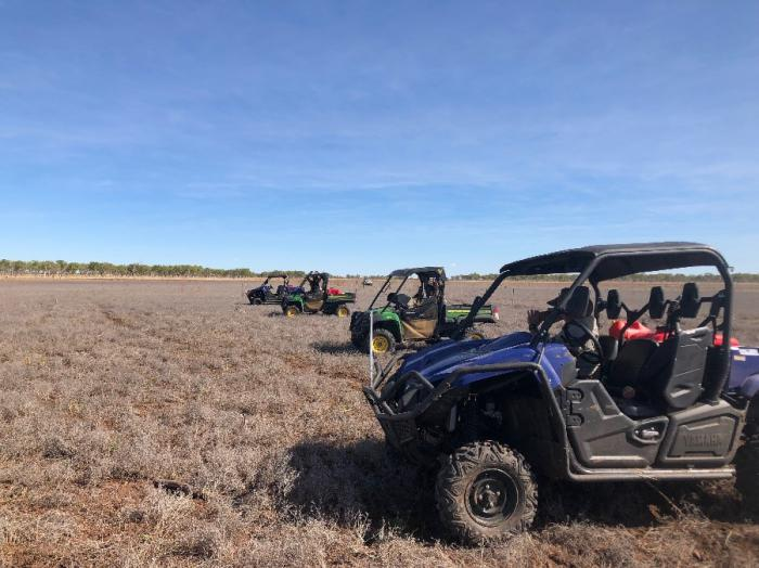 Four small utility vehicles form a line and are each separated by several metres. They are on a dried grassy plain with trees in the background and a blue sky above.