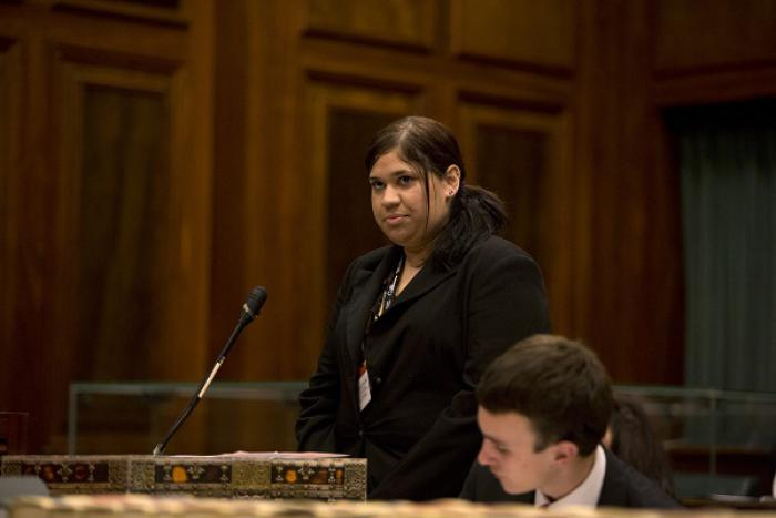 Twenty-year-old Larrakia woman Nateesha Collins from Darwin at the Youth Parliament in Canberra.