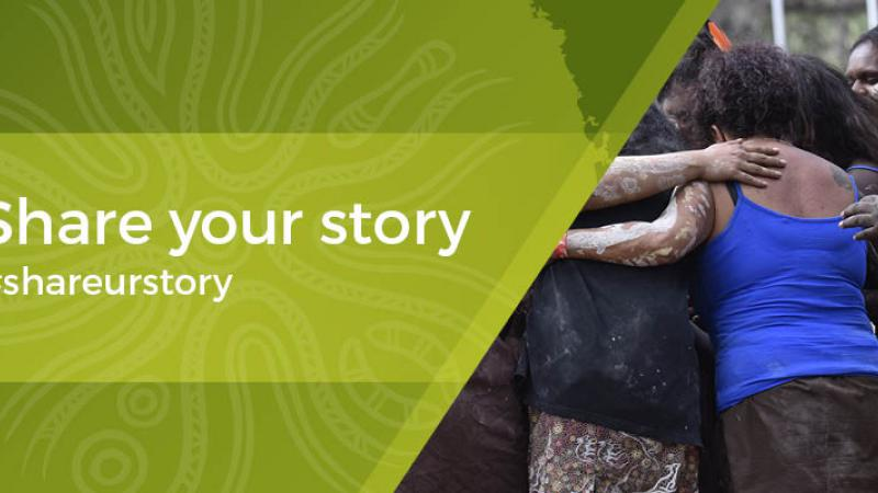 Green Indigenous design with words 'Share Your Story #shareurstory at left and Indigenous women in group huddle at right