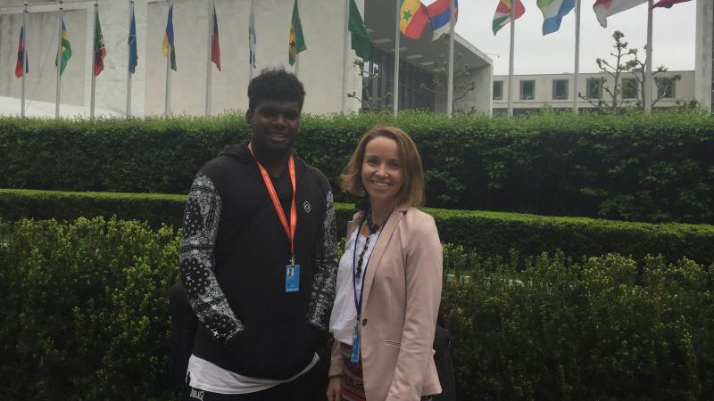Elijah Douglas and Rachel O'Connor at the United Nations Headquarters in New York