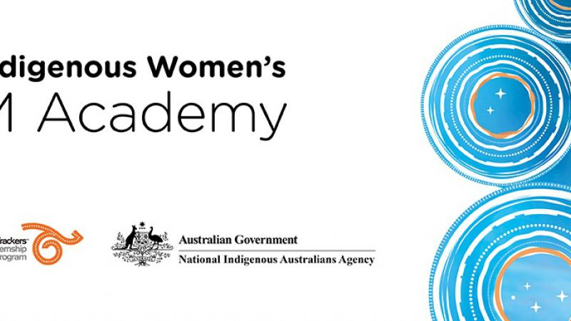 Banner with concentric circles at right and words at left on white background: Young Indigenous Women's STEM Academy and logos for CSIRO, Career Trackers and the NIAA.