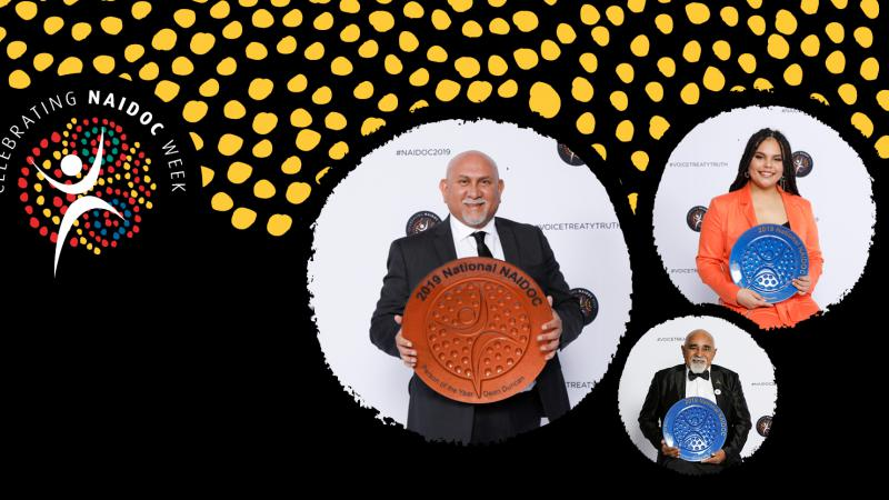 At left is a small circular logo featuring white human shaped image on a background of dots in circular pattern. At right are 3 images of Indigenous people holding plate shaped trophies. Images are on a black background with yellow dot formation above.