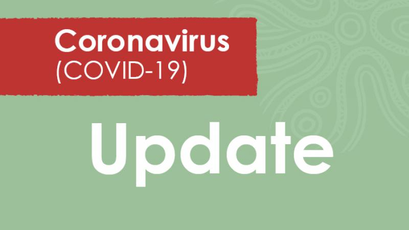 Green tile with the word Update in the middle and above in a red panel, the words Coronavirus (COVID-19).