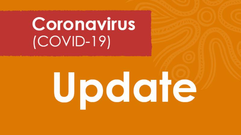 A predominantly orange tile with the words Coronavirus (COVID-19) on a red background and the word Update on the orange.