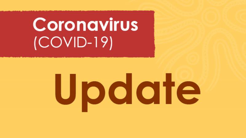 Yellow tile with the word Update at centre and above in a small red panel, the words: Coronavirus (COVID-19).
