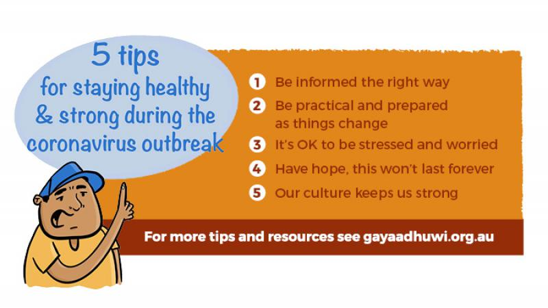 Two panels and a figure of a man in hat and shirt sit on a white background. The panel at left says: 5 tips for staying healthy and strong during the coronavirus outbreak. The panel at right says: 1 Be informed the right way. 2 Be practical and prepared