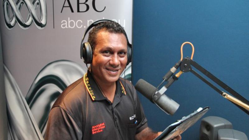 The Aboriginal Interpreter Service's Derek Hunt at the Darwin ABC studios recording a news bulletin in Yolngu Matha.