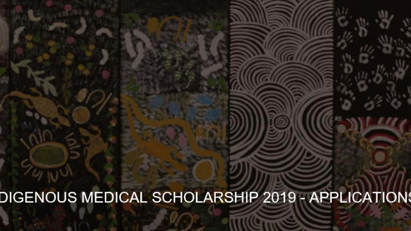 6 vertical panels of traditional art and words the following words across them: AMA Indigenous Medical Scholarship 2019 - applications open