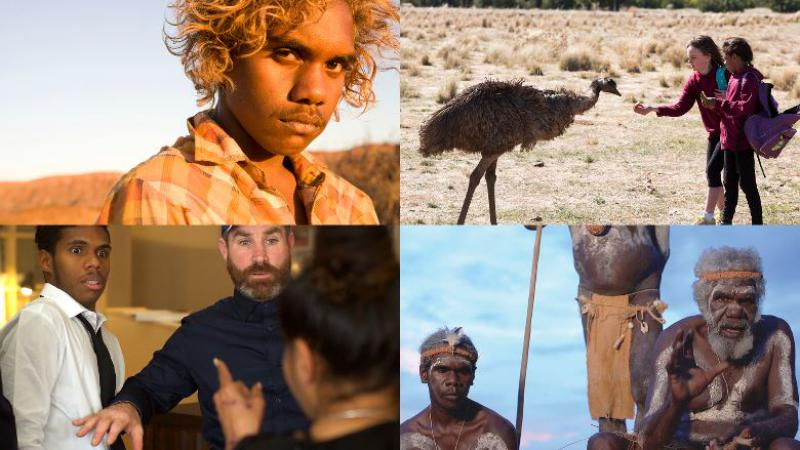 Four pictures merged together of Indigenous Men, Women and an Emu
