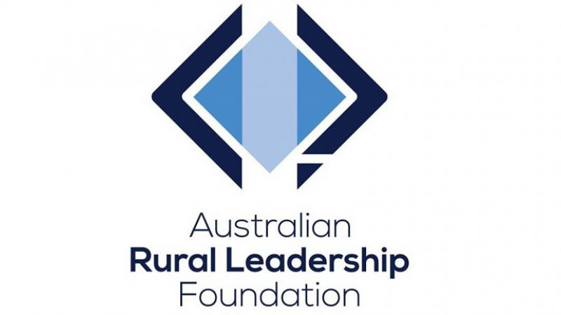 Diamond logo in light and dark blue and white with following words below: Australian Rural Leadership Foundation.