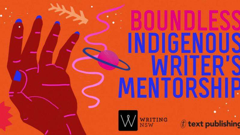 Orange poster with the workds Boundless Indigenous Writer's Mentorship and a picture of a hand.