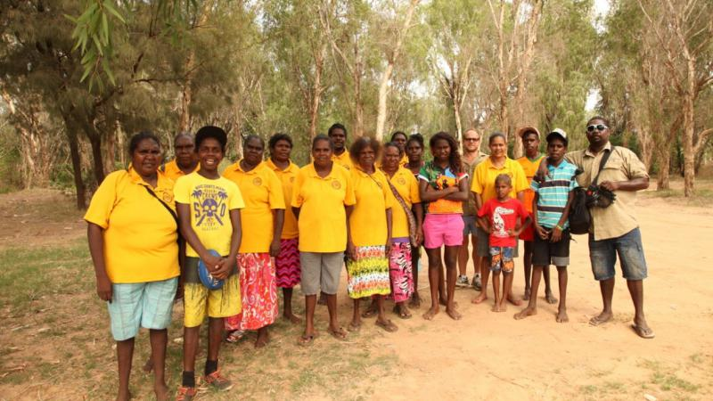 Borroloola's School Attendance Officers in their famous yellow shirts.