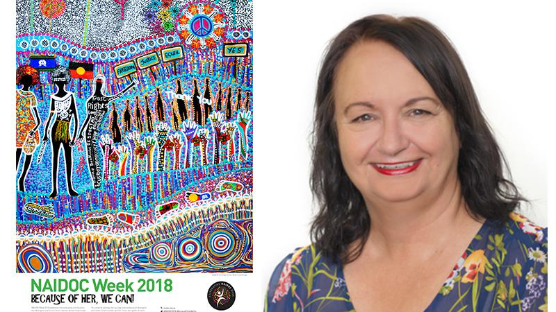 The 2018 NAIDOC Week Poster 'tarmunggie – Woman', with artist, Cheryl Moggs.