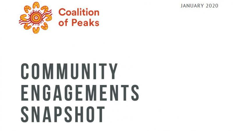 "Dark grey text of the words ""Community Engagement Snapshot"" on a white background with a red and yellow logo with the words Coalition of Peaks logo written in the top left hand corner. In the top right hand corner is written January 2020."