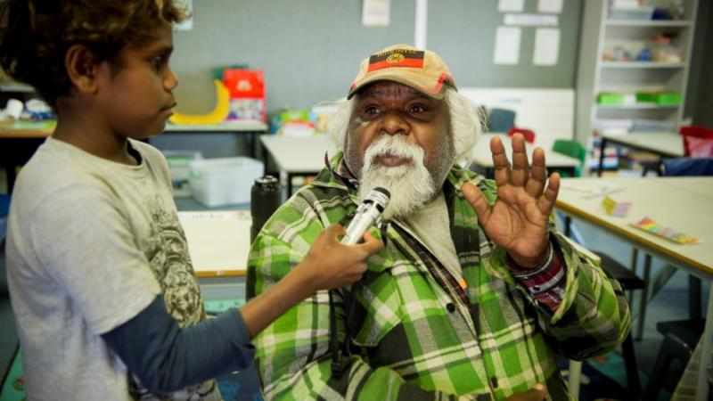 Ashely Lankin interviewing Ntaria Indigenous Engagement Officer Ed Rontji.