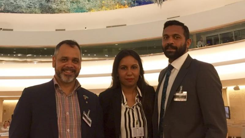 Charles Prouse, Sheena Graham (Head of Australian Government Delegation) and Bruce Martin pursuing the rights of Indigenous peoples not just in Australia, but around the world