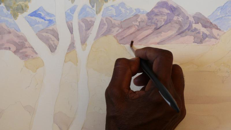 Hand painting landscape picture