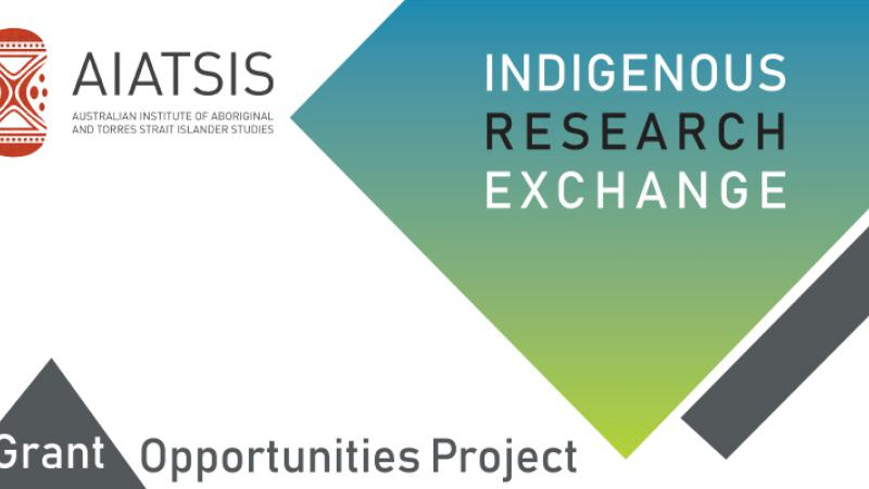 "Logo of the Australian Institute of Aboriginal and Torres Strait Islander Studies. There is a green diamond with the words ""Indigenous Research Exchange"" and the words ""Grant Opportunities Project written at the bottom of the image."