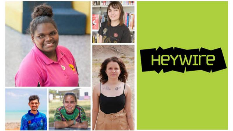 Photos of 5 young Indigenous Australians in casual clothing are grouped into a single conglomerate, with the images divided by white lines. At right on a green and black panel is the word Heywire.